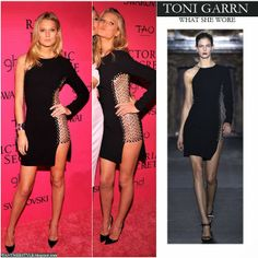 Toni Garrn in black cut out eyelet mini dress by Anthony Vaccarello Want Her Style #tonigarrn #victoriassecret #fashion