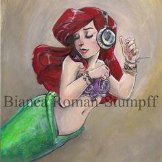 Ariel's Headphones by Bianca Roman-Stumpff, signed & mounted 5X7 print