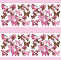 PINK CAMO BUTTERFLY Wallpaper Border Wall Decal Girl Camouflage Stickers Baby Nursery Kids Room Childrens Bedroom Brown Abstract Art Decor #decampstudios