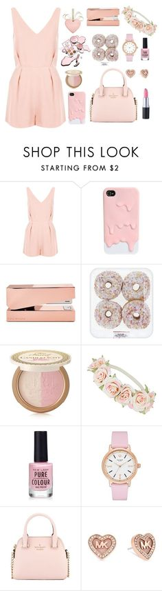 """Light pink"" by pandoraprincess15 ❤ liked on Polyvore featuring Topshop, Tom Dixon, Too Faced Cosmetics, Dorothy Perkins, Kate Spade, Michael Kors, women's clothing, women, female and woman"