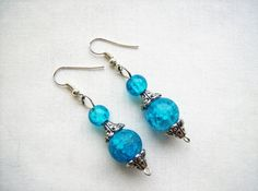 Blue crackle glass earrings by SparkleandComfort
