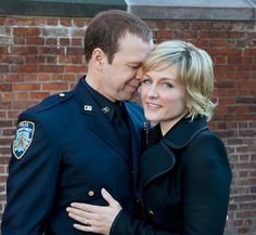 Donnie Wahlberg (Detective Danny Reagan) and Amy Carlson (Linda Reagan) in Blue Bloods- Awww, Bye Linda- Miss You♡ Amy Carlson, Blue Bloods Tv Show, Cbs Tv Shows, Blood Photos, Donnie Wahlberg, Great Tv Shows, Celebs, Celebrities, New Kids