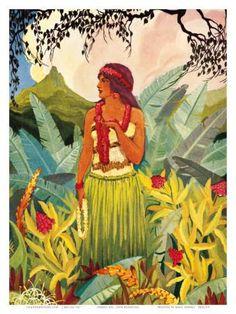 Hawaii Nei, Hula Moons Book Illustration, c.1930 Art Print by Don Blanding at Art.com