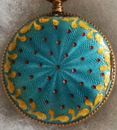 Vintage Gold Trimmed Design with small rubies over Turquoise Guilloche Enamel Pocket Watch