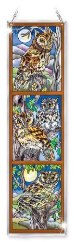 "Amia Beveled Glass Triptych Decor Panel Owl Design, 4-1/2 by 16-Inch, Hand-Painted on Glass by Amia. $29.00. Comes in a gift box. Includes chain for hanging. Optional wrought iron stand available.  go to amazon and search for amia 6682 wrought iron stand to order. Themed trio designs in hand-painted glass artwork are positively ""top hits.""  Beautiful design with rich colors will make a nice statement to your décor."