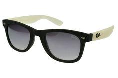 Ray Ban Wayfarer RB1878 Sunglasses White/Black Frame Gray Lens