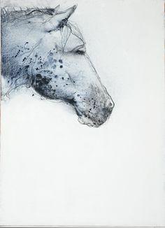 Häst i akryl och kol på duk, ca 70x100 cm. 2007.