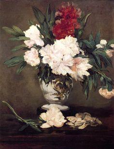 Édouard Manet (1832-1883). Vase de pivoines sur piédouche. 1864. Huile sur toile. Musée d'Orsay - Paris - France.