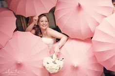 Surrounded by Pink Bella Umbrellas in Seattle