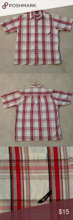South Pole Short Sleeve Button Down Shirt - South Pole Short Sleeve Button Down Shirt - Good Condition - White with Red / Grey - Size: Large  (One tiny light stain on collar which will easily come out but I do not have the product) South Pole Shirts Casual Button Down Shirts