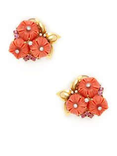 Estate Ca. 1950's Pink Sapphire & Carved Coral Flower Cluster Earrings