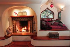 storybook cottage fireplace