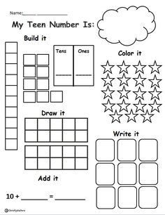 Let's Record Teen Numbers! Freebie for helping your students understand how to record teen numbers several ways! Kindergarten, grade, first grade, grade, grade Math Classroom, Kindergarten Math, Teaching Math, Teaching Teen Numbers, Teaching Ideas, Classroom Ideas, Math Resources, Math Activities, Math Worksheets
