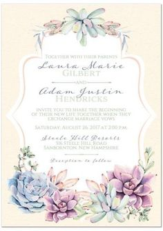 Pastel watercolor succulents wedding invitation. Succulent plants in purple, blue, green with a yellow background.