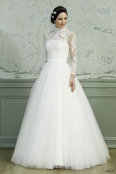lace wedding gowns 2015 | lilly bridal 2015 ball gown wedding dress illusion long sleeves high ...