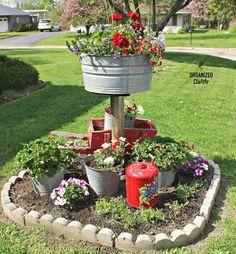 The flower garden planting continues. This very small, square garden is next to my driveway. This is a cheater garden . Garden Junk, Garden Yard Ideas, Lawn And Garden, Garden Projects, Garden Pots, Garden Crafts, Herb Garden, Small Flower Gardens, Little Gardens