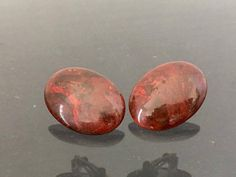 Vintage Jewelry Natural Bloodstone Clip on Earrings by wandajewelry2013 on Etsy