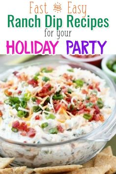 Budget Party Food Recipes - Fast and Easy Ranch Dip Recipes for Your Easter Party, Father's Day party, Mother's Day Get-Together, Birthday Party or for ANY holiday party with a large group or crowd.