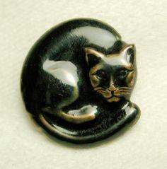 ButtonArtMuseum.com - Brass Collector Button Realistic Curled Cat Design w Enamel Finish