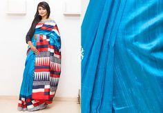 Silk Sarees - Multi hued Raw silk hand screen printed saree with abstract design PC 16655 - Main