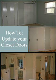Switch out bi-folding closet doors with new doors for a great diy closet doors makeover! Add mirrors to make the room look larger, to get a great new look!