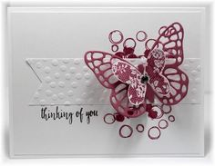 Scrappin' and Stampin' in GJ Stampin' Up! Playful Backgrounds, Butterflies Thinlits, Butterfly Basics