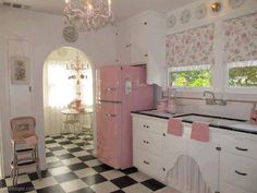 Pretty Pink Kitchen girly pink home pretty kitchen retro style ideas cheery appliances interior design home decorating