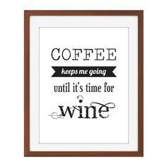 Coffee & Wine Quote Print by JillStudio on Etsy