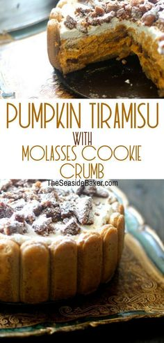 Pumpkin Tiramisu with Molasses Cookie Crumb ... yummm!!!   All your favorite fall foods combined together in one easy no-bake dessert! Perfect for #Thanksgiving #tiramisu #nobake #dessertrecipes #pumpkinrecipes #molasses #cookie