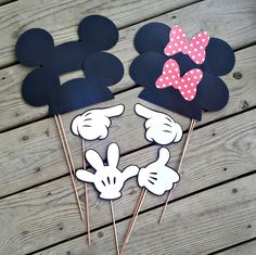 Mickey Minnie Mouse Photo Booth Props Ears Hands Birthdays Weddings Set of 8