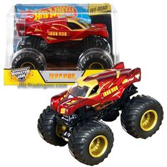 Monster Jam 1:24 Scale Die Cast Metal Body Monster Truck #CHV11 - Marvel IRON MAN with Monster Tires, Working Suspension and 4 Wheel Steering