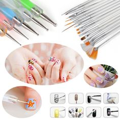 Acrylic Uv Gel Diy Nail Art Painting Drawing Dotting Brush Pen Set Tool