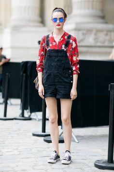 Denim overalls and mirror sunnies. Paris #SamRollinson #Offduty