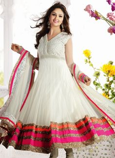 Off White Net Long Length Readymade Anarkali Salwar Kameez
