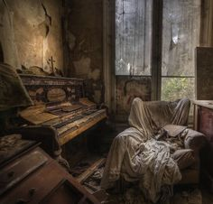 Ghost house, a real creepy room in the abandoned manor house.