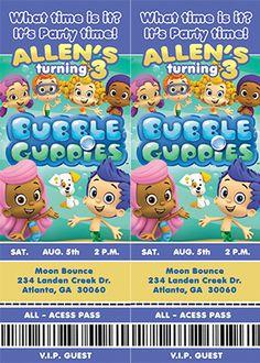 Bubble Guppies Ticket Invitation