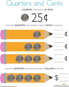 Worksheets: Counting Coins: Quarters