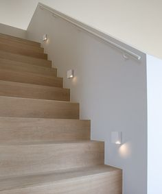 Light for Stairways - Turn on the top LED to light the upper edge of each step or the bottom one to impart a soft glow on each step. These lights enhance the beauty of your stairways. Wood Stairs, House Stairs, Stair Railing, Railings, Steel Stairs, Stair Risers, Stair Steps, Led Stair Lights, Stairway Lighting