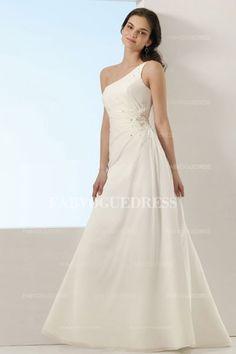 A-Line/Princess One Shoulder Floor-length Taffeta Wedding Dress