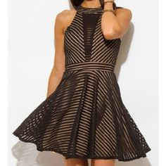 *COMING SOON*** Mesh Halter Mini Dress Black and tan halter mini dress. mesh bodice. Size Large. Dresses Mini