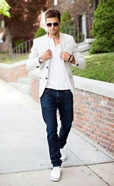 White sneakers dark denim white Henley cream blazer sunglasses very crisp and effective #denim #mensfashion #menswear #menstyle #sunglasses #whitesneakers #henley #menattire #mensapparel