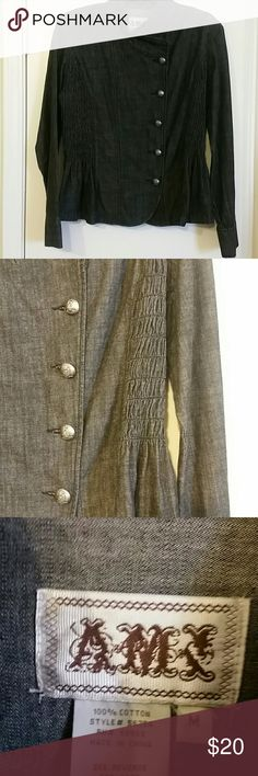 Military peplum jacket Charcoal gray, 5 buttons down the front, peplum bottom, and stretchy/elastic sides. Excellent condition. Small shoulder pads Ami Jackets & Coats