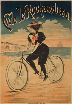 Artist: ANONYMOUS Size: 23 x 33 x cmCondition: B/ Slight tears. truly lovely image of a smartly-dressed young woman gliding along the beach at sunset on her Rochambeau bicycle. Vintage Ads, Vintage Posters, French Posters, Bicycle Brands, Bike Poster, Vintage Cycles, Bicycle Art, Edwardian Fashion, Cycling