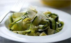 NYT Cooking: If you don't eat wheat, or you're on a low-carbohydrate diet and miss pasta, this can stand in for fettucine. Be very careful not to overcook it () Zucchini Pasta Recipes, Zucchini Noodles, Zuchinni Pasta, Zucchini Spaghetti, Cooking Zucchini, Squash Pasta, Veggie Pasta, Healthy Zucchini, Pasta Food