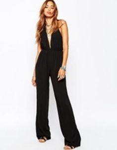 missguided halterneck wide leg jumpsuit  black #widefit #jumpsuit #allinone #covetme