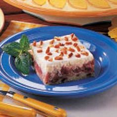 "Carol Forcum of Marion, Illinois relates, ""Rhubarb gives a burst of tangy flavor to this dessert. Sometimes I combine strawberries and rhubarb."""