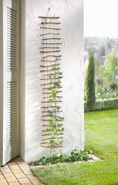 You can use leftover pieces of sticks that remind you of a lattice structure for climbing plants in your garden or just use a lattice as one itself if you don't want the whimsy.