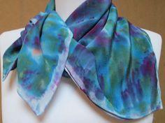 Indigo blue Silk scarf accessory hand painted crepe by Silkworth