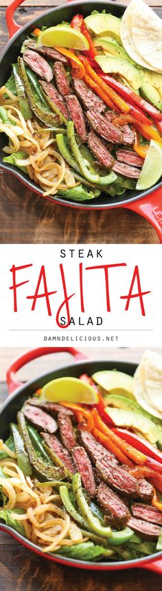 Steak Fajita Salad - Damn Delicious Steak Fajita Salad - All the amazing flavors of a fajita conveniently in a hearty salad, served with the creamiest cilantro lime dressing! Paleo Recipes, Mexican Food Recipes, Soup Recipes, Dinner Recipes, Cooking Recipes, Clean Eating, Healthy Eating, Healthy Meals, Steak Fajitas