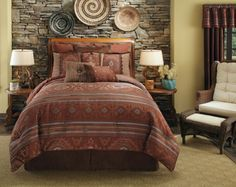 Pueblo Southwestern Native American Bedding by Veratex is perfect for the those who like western bedding sets having a southwestern inspired American style with Native American motifs in teal and brown colors. Southwestern Bedroom, Southwest Style, Southwest Decor, Southwestern Decorating, Native American Bedroom, Bedroom Furniture, Bedroom Decor, Bedroom Ideas, Master Bedroom